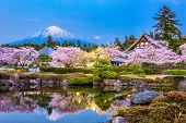 Fujinomiya, Shizuoka, Japan with Mt. Fuji and temples in spring season. poster