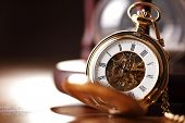 stock photo of countdown timer  - Vintage pocket watch and hour glass or sand timer - JPG