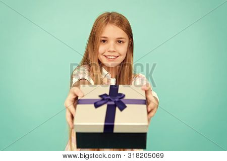 poster of Pleasant Surprise. Girl Kid Hold Birthday Gift Box. Every Kid Dream About Such Surprise. Birthday Gi