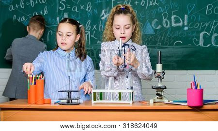 poster of School Education. School Girls Study. Explore Biological Molecules. Future Technology And Science Co