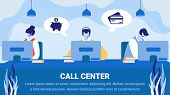 Call Service Banner, Staff In Headset Working On Computers Help Customers, Operator Client Communica poster