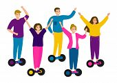 Young People Teens Riding Hover Board, Gyro Board, Balance Board. Group Men And Women Friends On Ele poster