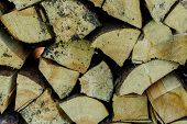 Dry Firewood In A Pile For Furnace Kindling Firewood Texture. Firewood Stack. Staple Of Biomass Arra poster