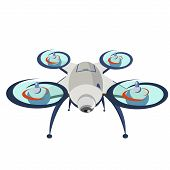 Drone. Modern Technology. Copter With Goods Flying In The Air. Quadcopter-courier, Multicopter. Mode poster
