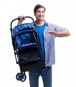 Young dad with baby pram isolated on white poster