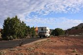 picture of campervan  - Motorhome parked in the camping in early morning - JPG