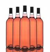 A Group of five Blush wine bottles without labels on a white background with reflection.