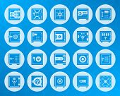 Safe Icons Set. Web Sign Kit Of Bank Cell. Keep Money Pictogram Collection Of Cash Deposit Privacy P poster