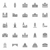 European Cities Landmarks Line Icons Set. Linear Style Symbols Collection, Outline Signs Pack. Vecto poster