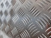 Metal Stainless Steel Sheet With Notches. Silver Colored Metal poster