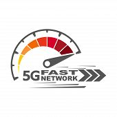5g Fast Network. Speed Internet 5g Concept. Abstract Symbol Of Speed 5g Network. Speedometer Logo De poster