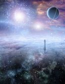 Mans Journey of the Soul. 3D rendering poster