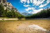 Lake In Alp Destination In Styria, Austria Between Mountains And Forests. Green Lake ( Gruner See ). poster