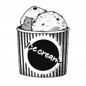 Realistic Sketch Of Ice Cream In A Vase. Vector Illustration In Sketch Style. poster