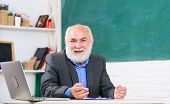 Talking To Students Or Pupils. Senior School Teacher Concept. Honored Professor. Teacher Bearded Man poster