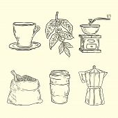 Coffee Set With Coffee Grinder Mill Beans Bag Of Coffee Scoop Coffee Cup. Hand Drawn Vector Illustra poster