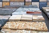 Natural Stone For Decoration In Construction Is Sold On Market. Construction Materials. Building Mat poster