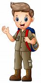 A Boy In Explorer Outfit With Backpack poster
