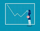 Growth Graph. Businesswoman With Profit Stock Market And Adjusta Uptrend Graph Chart Of Financial Gr poster