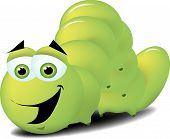 picture of inchworm  - A very happy bright green inchworm crawling along the ground - JPG