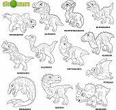 Cartoon Cute Prehistoric Dinosaurs, Coloring Book, Image Set poster