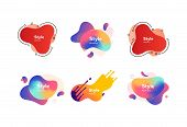 Set Of Colored Liquid Shape With Splashes. Dynamical Colored Forms. Gradient Banners With Flowing Li poster