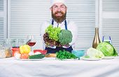 Healthy Vegetarian Recipe. Man Cook Hat And Apron Hold Broccoli. Organic Vegetables. Healthy Nutriti poster