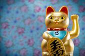 Japanese Lucky Cat, Maneki Neko, Figurine Golden Cat Brings Good Luck, Japan, China, Asia, Culture,  poster