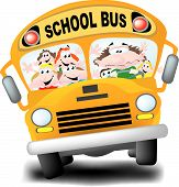 stock photo of bus driver  - A frazzled school bus driver with a bus load of wild kids - JPG