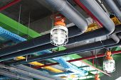 foto of hvac  - Ceiling of modern plant - JPG