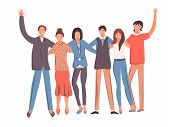 Happy Students, School Teenagers Friends Stand Together And Friendship. Group Of Smiling Teenage Boy poster
