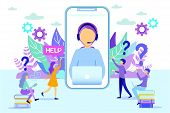 Cartoon Hotline Female Operator On Phone Screen Vector Illustration. Woman Consulting People. Client poster