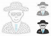 Mesh Security Agent Model With Triangle Mosaic Icon. Wire Frame Polygonal Mesh Of Security Agent. Ve poster