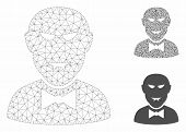 Mesh Vampire Model With Triangle Mosaic Icon. Wire Frame Triangular Mesh Of Vampire. Vector Mosaic O poster