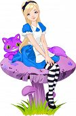 pic of alice wonderland  - Alice in Wonderland and Cheshire Cat on mushroom - JPG