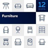 Furniture Line Icon Set. Set Of Line Icons On White Background. Chair, Bed, Table. Indoor Concept. V poster