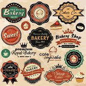 pic of pastry chef  - Collection of vintage retro grunge food labels - JPG