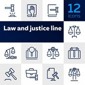 Law And Justice Line Icons. Set Of Line Icons On White Background. Law Concept. Gavel, Rule, Courtro poster