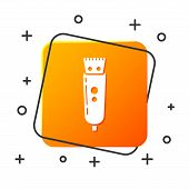 White Electrical Hair Clipper Or Shaver Icon Isolated On White Background. Barbershop Symbol. Orange poster
