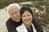 image of early 60s  - Mature Couple Sitting at Beach - JPG