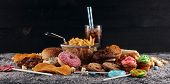 Unhealthy Products. Food Bad For Figure, Skin, Heart And Teeth. poster