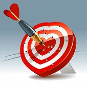 Heart Shaped Darts Target with sticking Arrow. Rasterized version