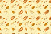 Seamless Pattern Of Autumn Vector Backgrounds, Autumn Background. Autumn Maple Autumn In The Backgro poster