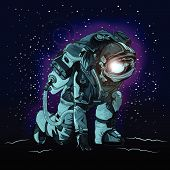 Astronaut In Spacesuit On Space., Astronaut Vector poster