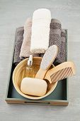 Spa And Wellness Composition With Serum, Towels And Beauty Products. Wellness Center, Hotel, Bodycar poster