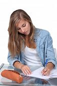 image of bic  - Girl doing homework - JPG