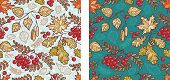 Autumn Leaves Seamless Pattern With Rowan, Maple, Birch And Oak. Fall Leaf Design.foliage Forest Lea poster