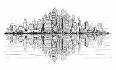 Vector Artistic Sketchy Pen And Ink Drawing Illustration Of Generic City High Rise Cityscape Landsca poster