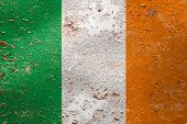 National Flag Of Ireland On Old Peeling Wall Background.the Concept Of National Pride And Symbol Of  poster