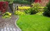 stock photo of interlocking  - Garden stone path with grass growing up between the stones - JPG